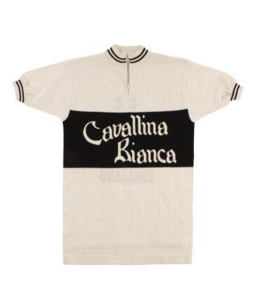 Italy. G.S.Cavallina Bianca Cycling wool t-shirt 60/70s