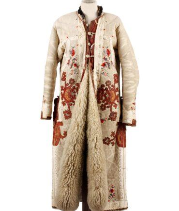 Ethnic vintage Rare Mongolia sheepskin coat
