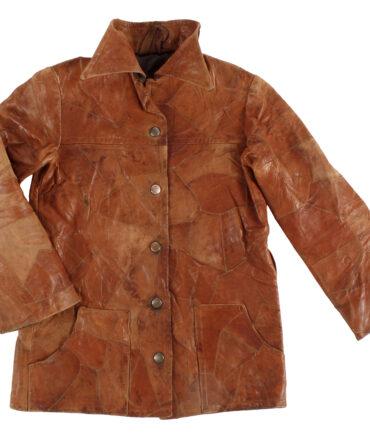 kids Patchwork leather coat