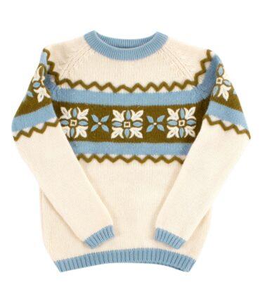 Handmade wool jacquard sweater 50-60s