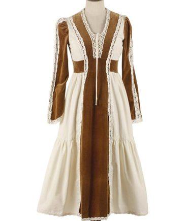 GUNNE SAX cotton and velour dress 60s