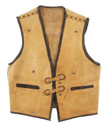NO LABEL leather vest 70s