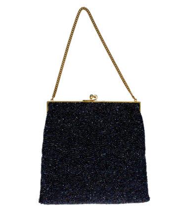Shiny blue evening bag '40/50s